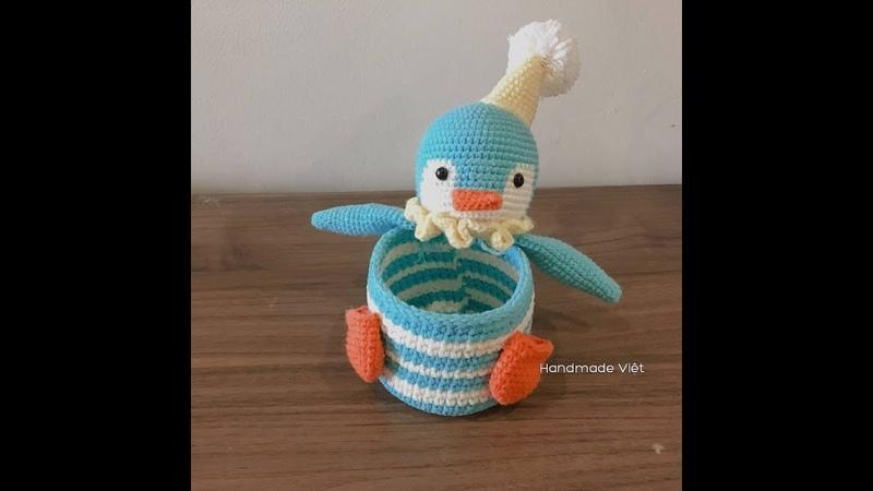 Hướng dẫn móc hộp đựng hình chim cánh cụt (Phần 1) - How to crochet a penguin's box (Part 1)