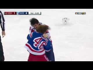 Wilson and lemieux drop the mitts after ovi and wilson make a lemieux sandwich