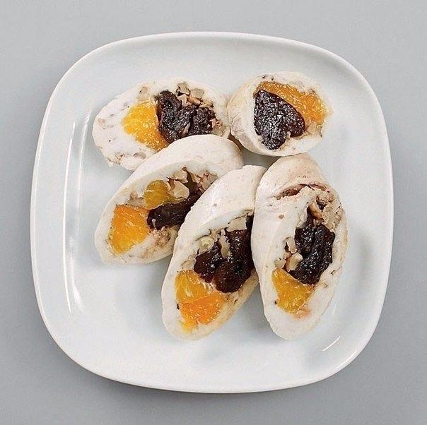 Паровой куриный рулет с мандаринами и черносливом. 💥👌🏻