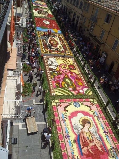 Фестиваль цветов в Дженцано Флористы итальянского города Дженцано из года в года, с 1778 года, во вторую неделю июня забирают центральную улицу города под цветочный фестиваль, и «ткут» из цветов
