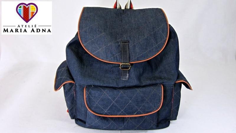 Bolsa mochila em jeans Roberta. Bolsa mochila em tecido com moldes. Fabric jeans backpack bag