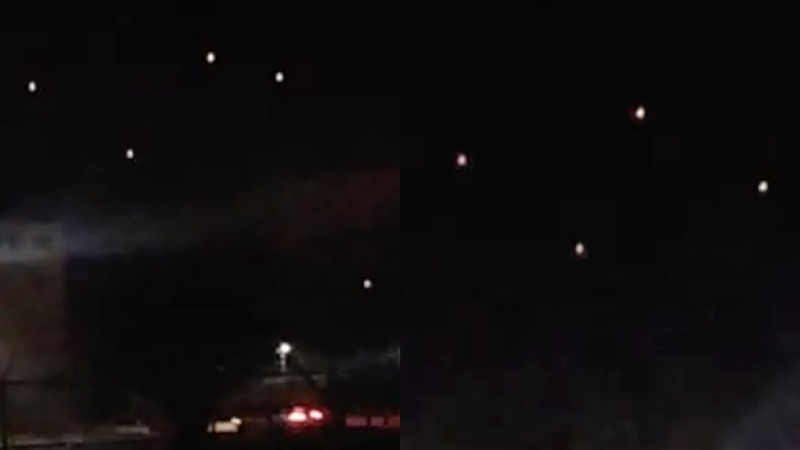 Cluster of Bright UFOs in Strange Square Formation Hovering over El Paso (Texas) - FindingUFO