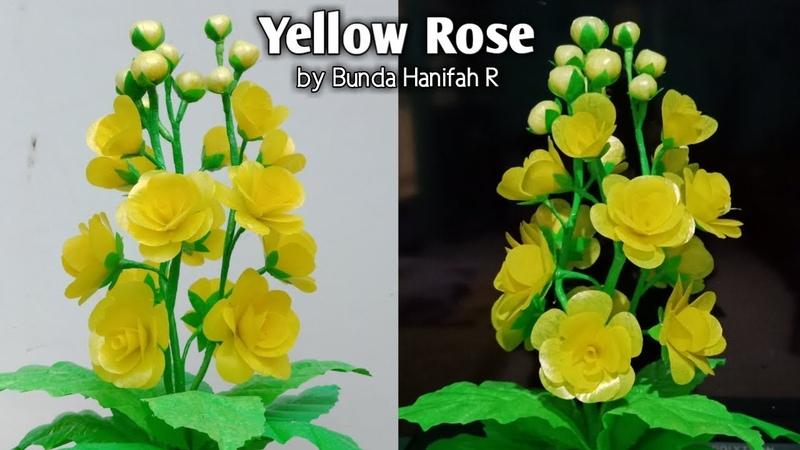 Cara membuat bunga mawar kuning dari plastik kresek How to make yellow rose from plastic bag