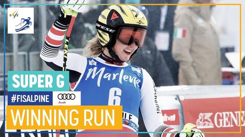 Nina Ortlieb Women's Super G La Thuile 1st place FIS Alpine
