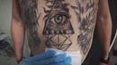 Черно белая татуировка глаз в пирамиде. Eye tattoo in a pyramid. Pattaya Tattoo Studio