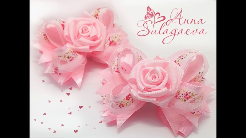 МК Американский бантик с розой из репсовых лент