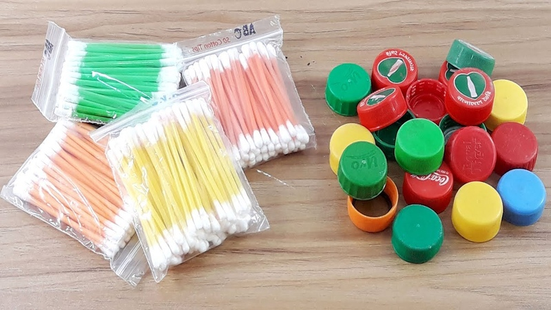 Cotton buds Waste plastic bottle caps reuse idea | Best craft idea | DIY cotton buds
