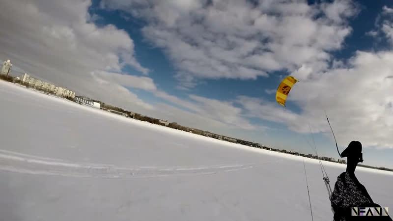 SnowKiting на оз Смолино