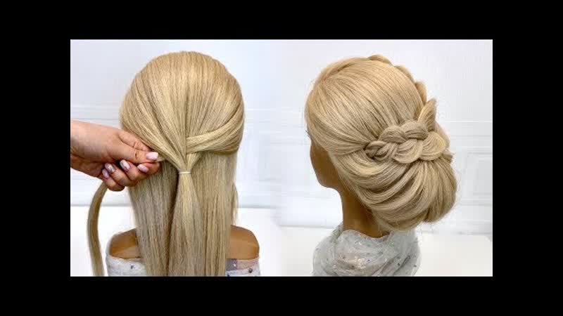Легкая прическа на средние волосы Красивые прически пошагово Низкий пучок Лилия Эрагшева