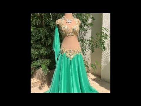 Belly dance costume by Sufel Boutique Mint skirt with golden lase' bra and belt ベリーダンス衣装