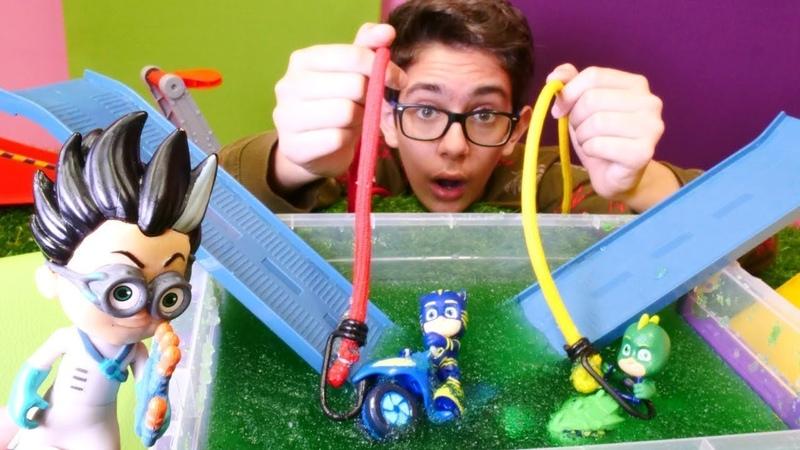 Pj Masks oyuncakları. Pijamaskeliler ile macera videoları! Çizgi film kahramanları