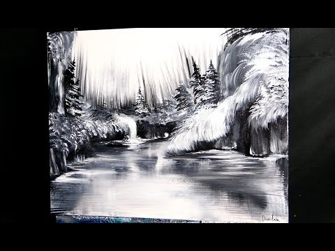 BLACK and WHITE WATERFALL | SIMPLE FAN BRUSH PAINTING TECHNIQUES | ACRYLIC PAINT | DRANITSIN