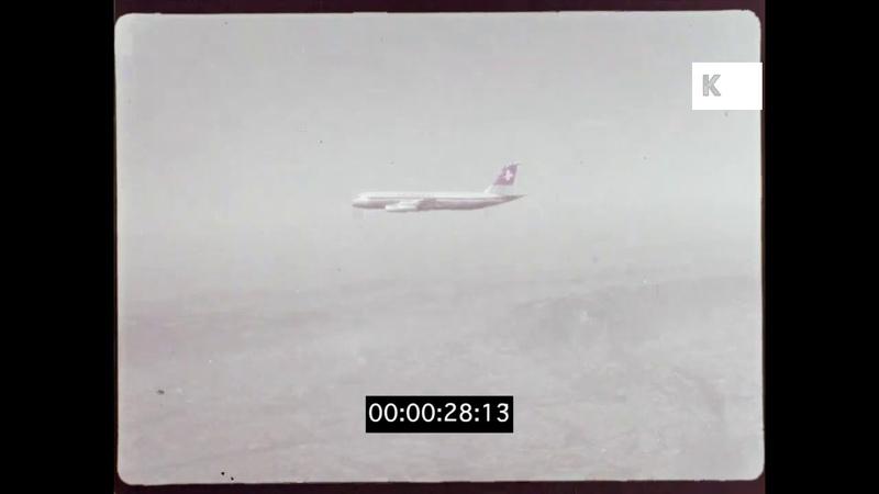 1960s 1970s Swissair Convair Coronado In The Air 35mm