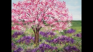 Acrylic Painting Cherry Blossom Tree and Lavender Meadow Landscape Painting Demo