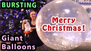 Bursting Giant Balloons for Christmas! Glitters inside! Let's inflate balloons till they pop.