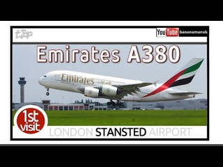 Emirates Airbus A380 FIRST VISIT London Stansted Airport Landing & Departure