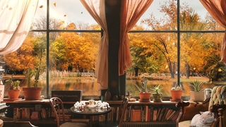 Cozy Autumn Cafe Ambience ASMR: Relaxing Fall Nature Sounds for Studying, Relaxation, Sleep