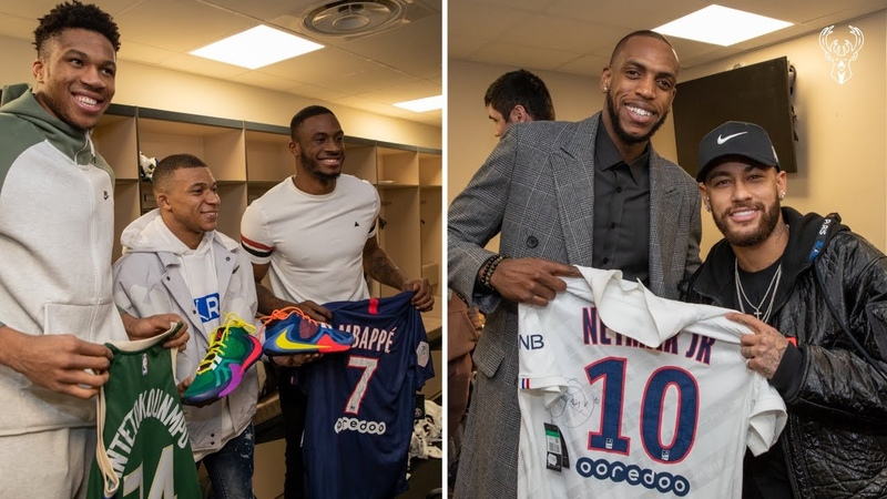 All-Access Neymar and Mbappe Visit The Bucks In Paris | Exclusive Locker Room Footage | NBA Paris