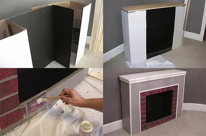 Как сделать новогодний камин из коробок и картона, изображение №8