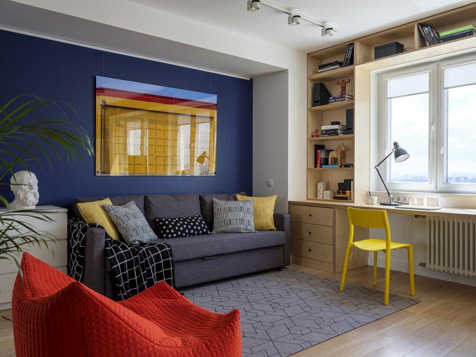 Перепланировка 1-комнатной квартиры в студию почти 40 кв.