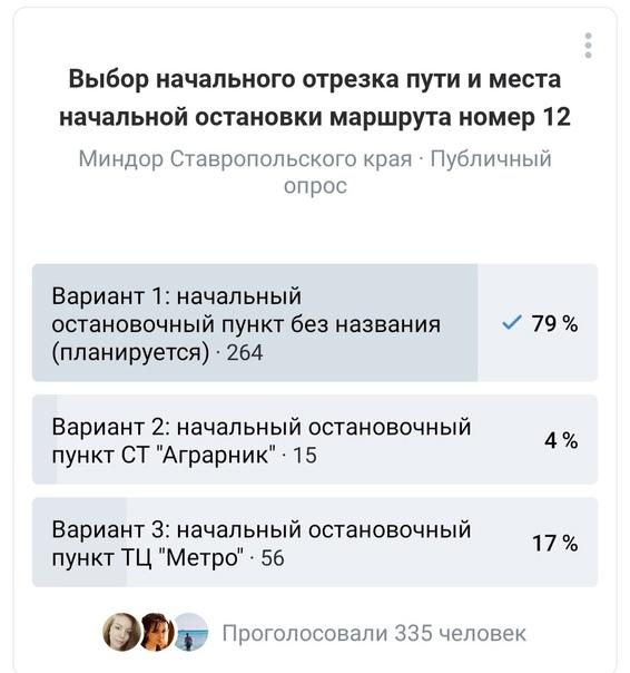 В Ставрополе выбрали начальную остановку для маршруток № 12  Подведены итоги голосования по изменению начальной точки... Ставрополь