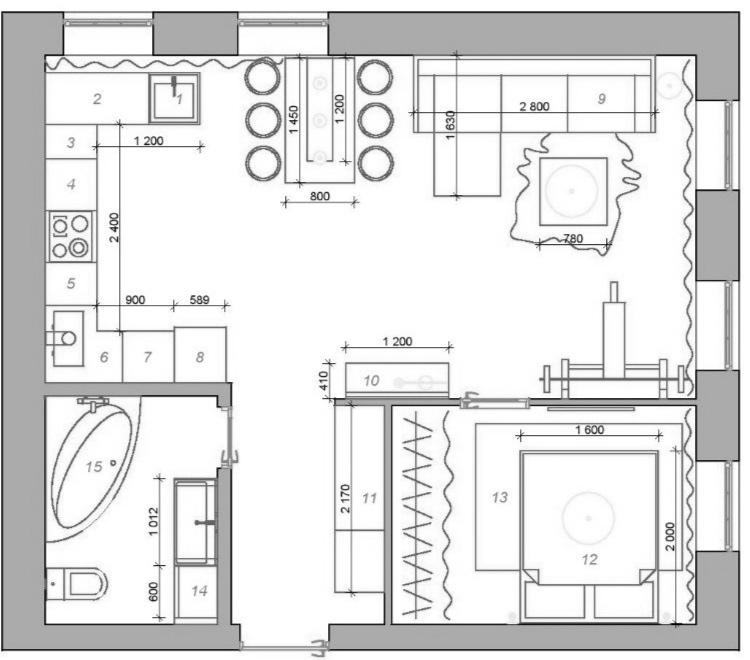 Интерьер квартиры 49 кв.