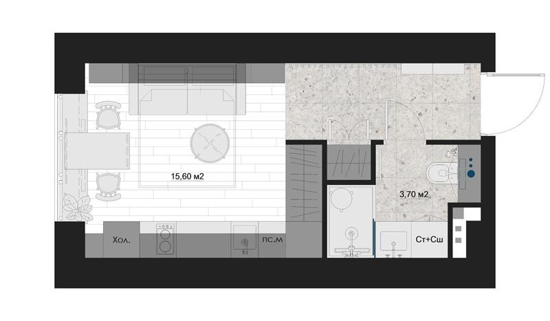 Проект маленькой квартиры-студии всего 19 кв.