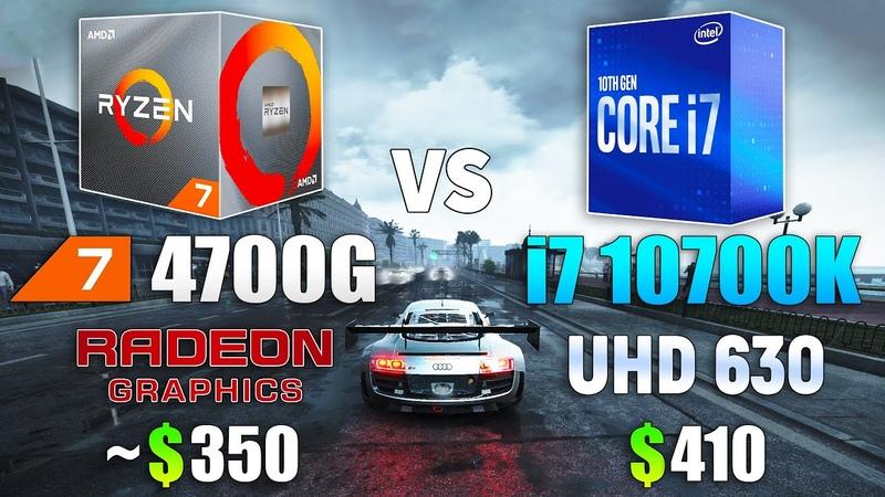 Ryzen 7 4700G vs i7 10700K CPU and iGPU Test