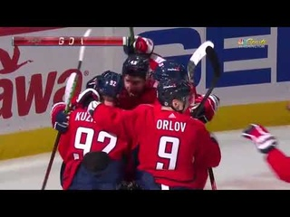 Evgeni Kuznetsov finds Tom Wilson near the Penguins net and gets an assist (2021)