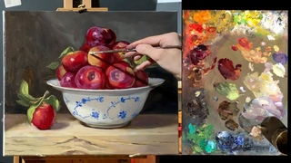 Free narrated lesson how to paint a realistic still life of apples in a ceramic bowl using oils