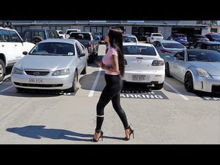 Rose Tries Out Pleaser 5.5 Inch Black Shiny Single Sole High Heel Shoes With Ankle Collar and Walk