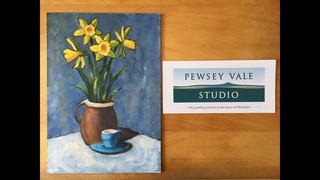 Oil Painting Demonstration by Paul Oakley: Daffodils and blue espresso cup