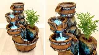 DIY Concrete Barrel Waterfall Fountain Pot