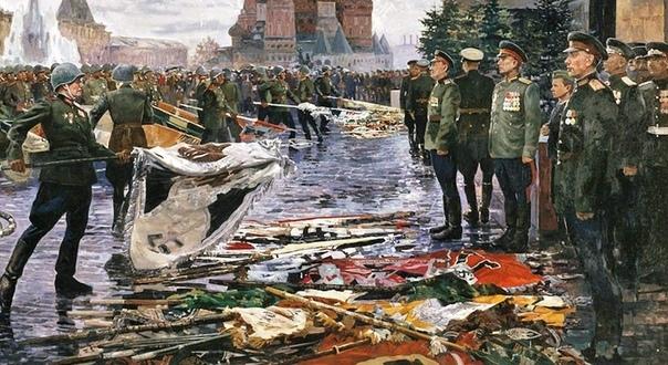 Почему на параде Победы в 1945м низлагали кайзеровские знамёна